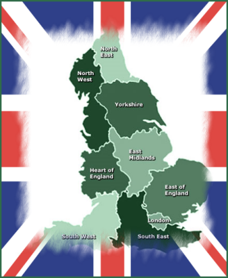 Map of England with Union Jack Frame